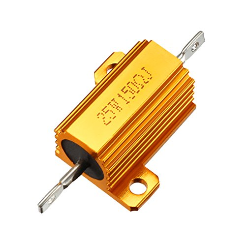 uxcell 25W 150 Ohm 5% Aluminum Housing Resistor Screw Tap Chassis Mounted Aluminum Case Wirewound Resistor Load Resistors Gold Tone 1 pcs