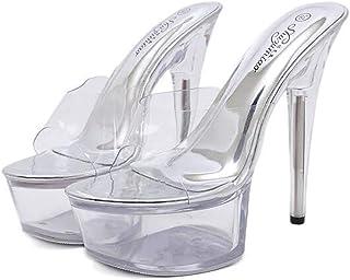 Women Fish-BilledSandals,Ladies Stiletto PlatformSandals,Summer Transparent Crystal Sandals Banquet Wedding Flip Flop
