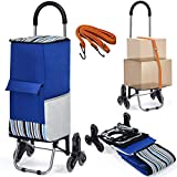 COSTWAY Foldable Shopping Trolley, 2 in 1 Shop Cart & Hand Tuck with Climbing Stair Wheels, Detachable Bag and Adjustable Bungee Cord, Supermarket Rolling Grocery Bag