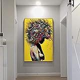 Wfmhra Modernes Mädchen Porträt Leinwanddruck Öl