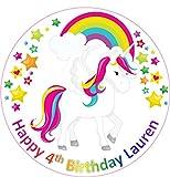 19 cm círculo redondo unicornio pastel Topper impreso papel comestible oblea personalizado