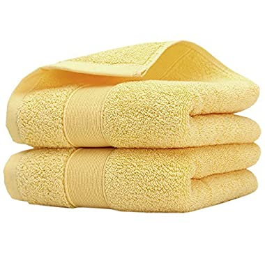 Pidada Hand Towels Set of 2 100% Cotton Highly Absorbent Soft Hand Towel for Bathroom 14 x 30 Inch (Yellow)