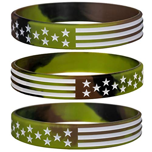 Sainstone Military Silicone Bracelets with American Flag, Rubber Camouflage Army Wristbands in Army Green & Forest Camo for Men Women for American Patriots, Army and Sport Fans (Standard 8')