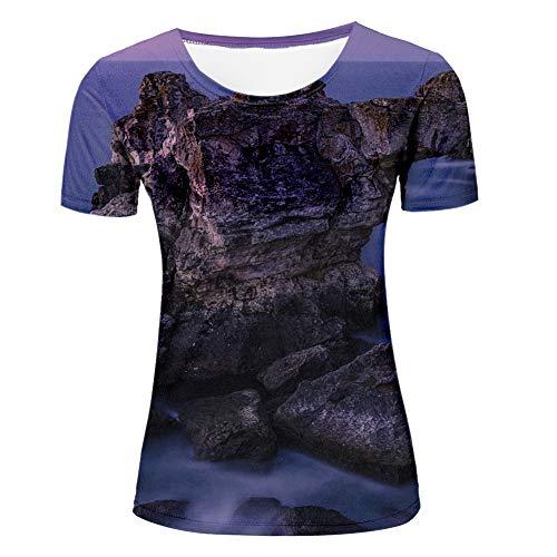 Camiseta para hombre impresa en 3D misteriosa púrpura atardecer en el mar patrón camiseta parejas camisetas