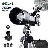 ESSLNB Telescope Astronomique 40080 Telescope Astronomique Adulte avec 10X Adaptateur Téléphonique Trépied Réglable 3X Lentille Barlow Sac et Filtre de Lune