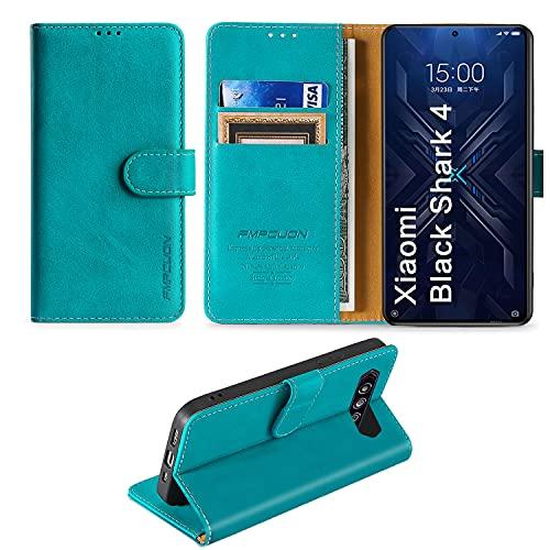 FMPCUON Handyhülle für Xiaomi Black Shark 4/Xiaomi Black Shark 4 Pro Hülle Leder,Premium Klapphülle Handytasche Flip Hülle Handy Hüllen Schutzhülle für Xiaomi Black Shark 4 (6.67 Zoll),Grün