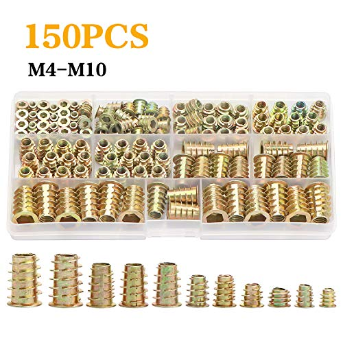 URLWALL 150PCS Metric Thread Insert Nut M4/M5/M6/M8/M10 Kit for Wood Furniture Zinc Screw in Nut Hex Socket Drive Bolt Fastener