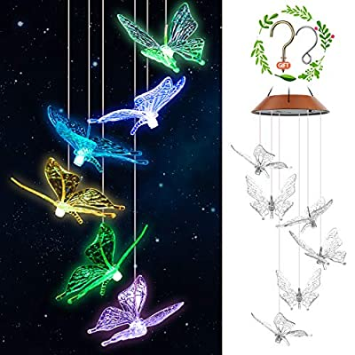 Elihome Solar Wind Chimes Outdoor Butterfly Led Windchimes Changing Colors Crystal IP66 Waterproof Hanging Patio Light, Porch, Deck, Yard, Garden Decor