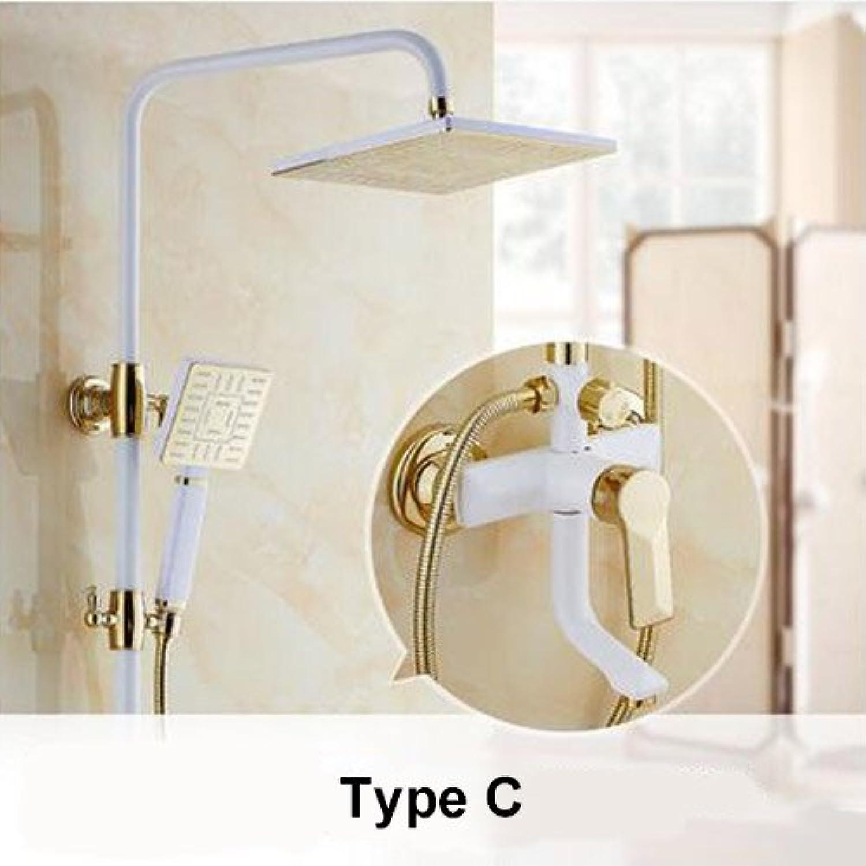 Luxus Gold Regendusche Set Wandhalterung Goldene weie Farbe Bad und Dusche Wasserhahn mit Handbrause Bad Mixe Craner, C
