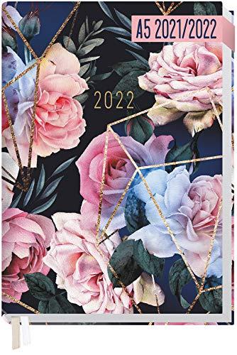 Chäff-Timer Classic A5 Kalender 2021/2022 [Geo Flowers] Terminplaner, Terminkalender für 18 Monate: Juli 2021 bis Dez. 2022 | Wochenkalender, Organizer mit Wochenplaner | nachhaltig & klimaneutral
