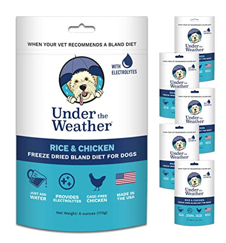 Under the Weather Easy to Digest Bland Dog Food Diet for Sick Dogs - Contains Electrolytes - Gluten Free, All Natural, Freeze Dried 100% Human Grade Meats (Buy 5 - GET ONE Free) - Rice & Chicken