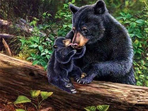 MTDSWHNDQRJ DIY Zwarte beer van het bos 5D Diamond Painting Kit met volle diamanten van kristallen schilderijen voor huisdecoratie Trapano tondo 20x25CM / 7.9x9.8 IN C01