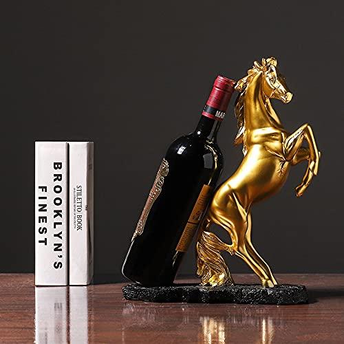 EUPEFIST Caballo Porta Botellas De Vino, Estatuas Porta Botellas De Vino para Decoración para Bares De Casa Estanterías De Vino De Mesa Y Regalos De Decoración De Oficina (Oro)