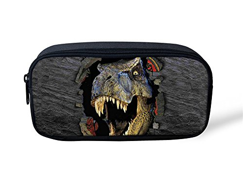 HUGS IDEA Estuche para lápices con estampado de dinosaurio, para niños, bolsa de papelería, soporte para bolígrafo, monedero