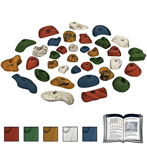 ALPIDEX 35 Klettergriffe Klettersteine - für eine Kletterfläche von ca. 3 bis 5 m², Farbe:bunt