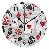 ALAZA Home Decor Poker Casino Card Round Acrylic 9.5 Inch Wall Clock Non Ticking Silent Clock Art for Living Room Kitchen Bedroom