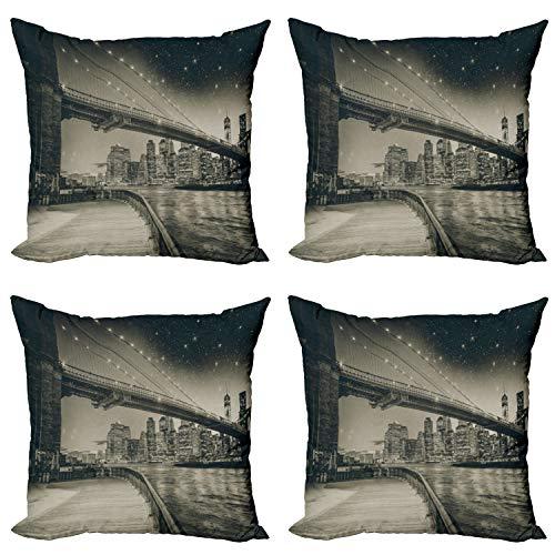 ABAKUHAUS Nueva York Set de 4 Fundas para Cojín, Brooklyn Puente de la Noche, Estampado Digital en Ambos Lados y Cremallera, 45 cm x 45 cm, Sepia Oscuro Negro