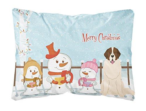 Caroline Tesoros del bb2358pw1216Feliz Navidad Carolers Perro guardián de Moscú Lienzo Tejido Decorativo Almohada, 12'X 16' W, Multicolor