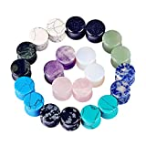 Oyaface 22pcs Organic Stone Tunnels Plugs Ear Expander Multi-Colors Body Piercing 2g(6MM)