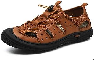 Gangxia 男士真皮大码厚底防滑凉鞋男夏季头层牛皮户外休闲包头沙滩鞋 38-45