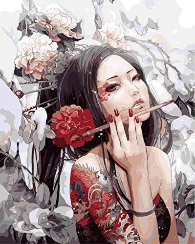 BNML DIY Digital Painting Geisha Gemälde nach Zahlen Rahmenlose abstrakte Straße Zeichnung nach Zahlen auf Leinwand Home Decor 40x50cm
