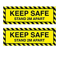 EXCEART 2ピース社会距離ステッカー安全スタンド2メートル離れて警告サイン粘着ドアマーカーインジケーター用エレベーターオフィス公共エリア