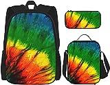 Colorido Tie Dye Mochila Bookbags Set con bolsa de almuerzo Estuche de viaje