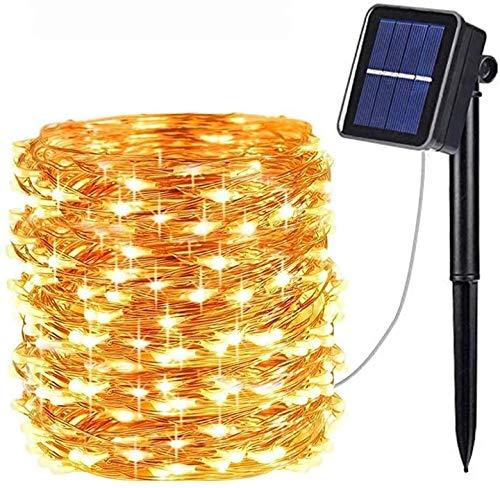 LED Solar Kupferdraht Lichterkette Solarlichterkette, Mafiti 12M 120LED Kupferdrahtlampe String, Wasserdichte Solar Außen Sternen Lichterketten Beleuchtung mit 8 Modi für Garten Hof Party