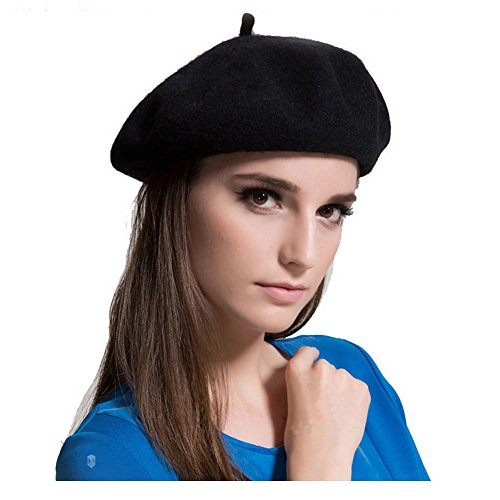 MAYMII Wool Black Beret Hat - French Beret -Solid Color Beret Cap for Women Girls Arkansas
