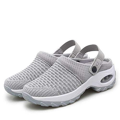 LKSDJ Zapatos de Deslizamiento con cojín de Aire Informales y Transpirables para Mujer, Sandalias ortopédicas para Caminar, Zapatos de jardín con cojín de Aire de Malla Gray 39