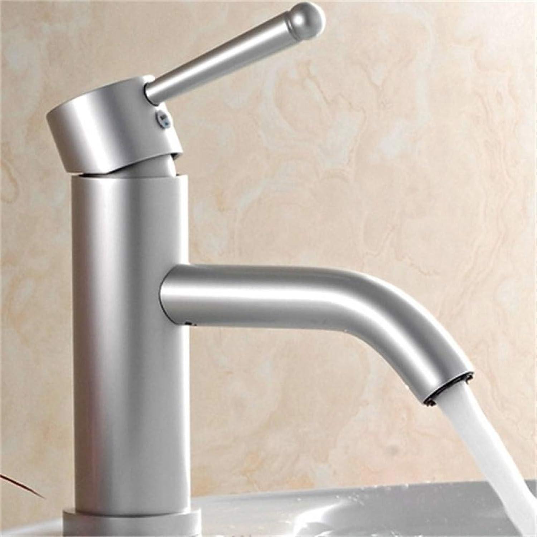 VIOYO Wasserhahn Wasserhahn Raum Aluminium Silber Becken Wasserhahn Einhand Kalt- und Warmwassermischer
