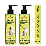 Dogz & Dudez Dog Shampoo Anti Tick and Flea Organic Natural Neem and Lemongrass Insect Repellent -400 ml