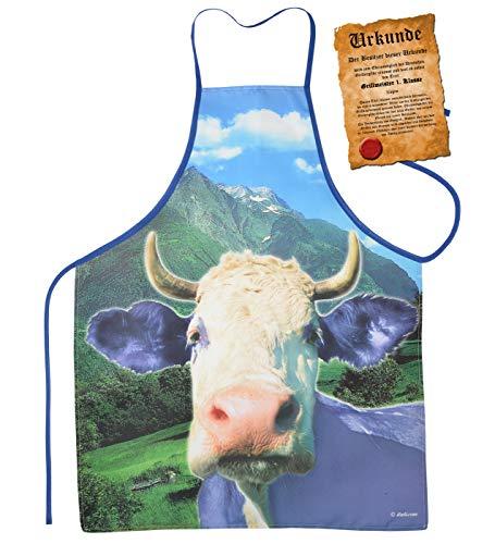 Mega grote schort BBQ schort kookschort met certificaat - paarse koe - grappig schertsartikel voor elke gelegenheid carnaval cadeau-idee