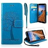 AROYI Xiaomi Redmi 7A Hülle, Handyhülle Xiaomi Redmi 7A Hülle Tasche Leder Flip Eule Baum Wallet Schutzhülle für Xiaomi Redmi 7A Blau