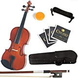 Mendini 1/4 MV200 Solid Wood Natural Varnish Violin with Hard Case, Shoulder Rest, Bow, Rosin and Extra Strings