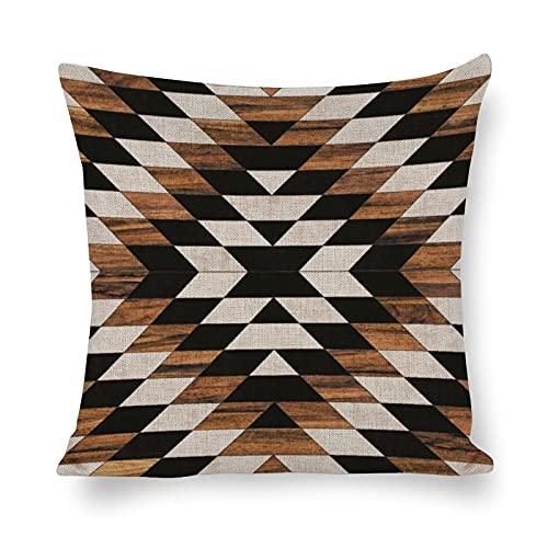 DKISEE Funda de almohada cuadrada de lino y algodón con diseño tribal azteca y hormigón, 40 x 40 cm