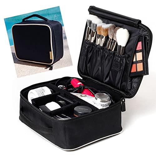 ROWNYEON Makeup Train Case Makeup Travel Bag Mini Cosmetic Bag Organizer Professional Portable Cosmetic Makeup Case for Women Storage Bag 9.8 Mini, Black with White Binding