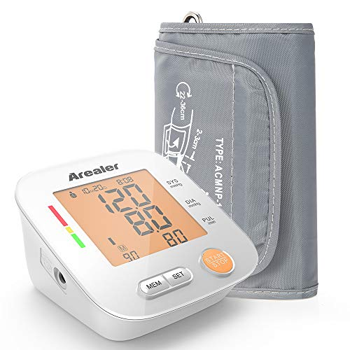 Arealer Blood Pressure Monitor Upper Arm, Digital Blood Pressure Machine for Pulse Rate, Automatic BP Monitor with Large Screen Display, 2 * 90 Memory, Bag and Batteries Included