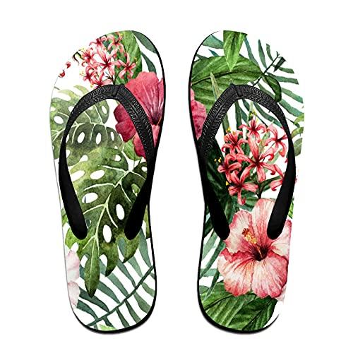 Sandalo infradito sottile unisex,Fiori di orchidea selvaggia tropicale co, Infradito per tappetino da yoga Comodo cinturino in pelle da spiaggia con suola in EVA leggera taglia S