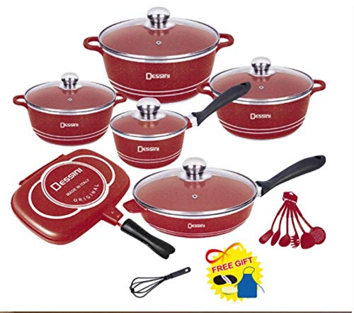 YYCHJU Cookware Set for Gas, Electric and Stovetop Cookware Set Non-Stick Pot Cast Aluminum Cookware Set Soup Pot Casserole Fry Pan Cooking Tools Cookware Kitchen Tools (Color : B)