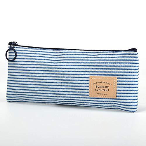 Yvonnezhang 1 unid Rayas Bolsa de lápiz Cremallera papelería Bolsas de Almacenamiento Bolsa de lápiz papelería de Oficina Caja de lápiz de Lona, Rayas Azules