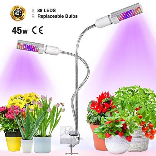 Bozily Pflanzenlampe LED 45w Grow Lampe Vollspektrum Pflanzenlicht, 2 Austauschbare Birnen für E26 / E27 und Flexibler Schwanenhals Wachstumslampe für Zimmerpflanze