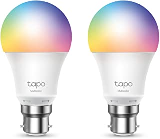 TP-Link Tapo Smart Wi-Fi Light Bulb Multicolour 2-Pack - B22, 8.7W, No Hub Required, Compatible with Alexa (Echo and Echo ...