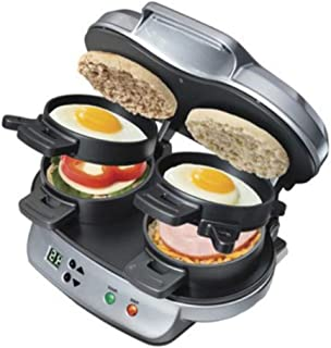 Round Breakfast Maker, Premium Quality, Gray Color, Non-Stick Surface, 1 Sandwich Capacity, 2 Sandwiches Capacity, Dishwasher Safe, Removable Egg Plate & E-Book Home Décor