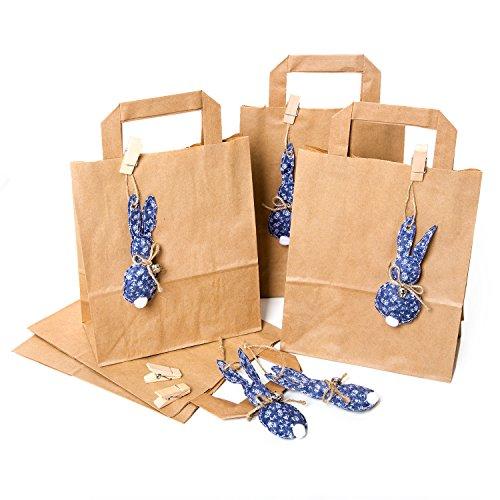 5 kleine bruine paashazen 18 x 22 x 8 cm geschenktasjes Pasen + 5 blauwe witte paashaas paashaashanger van jeans stof + klemmen: verpakking Paasgeschenken give-aways kinderen gasten vrienden