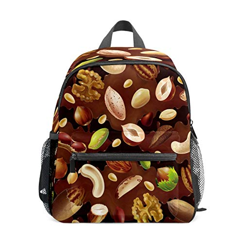 Mochila infantil para niños de 1 a 6 años de edad, mochila perfecta para niños y niñas de comida orgánica de maní, nogal, pistacho, chocolate