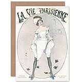 Artery8 La Vie Parisienne Woman Sparrow Birds Magazine Cover Sealed Greeting Card Plus Envelope Blank Inside París Mujer Aves Portada de la Revista Cubrir