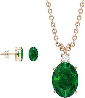 2.33 Carat Emerald Diamond Jewelry, Oval Shaped Green Gemstone Pendant Necklace, Solitaire May Birthstone Stud, Gold Penda...