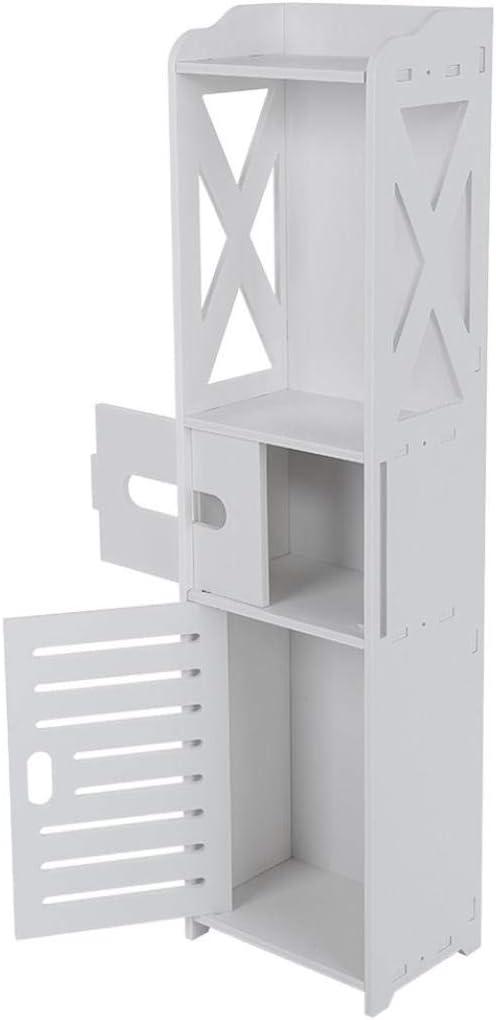 751F 3-Tier Bathroom Cabinet Shelf Storage Cupboard Toilet Unit Free Standing White
