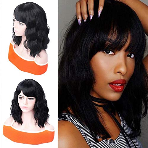 LUOMAN Natural Black Bob Pastel Wavy Wig with Bangs Short Black Bob Synthetic Wigs Shoulder Length Bob Style Heat Resistant Firber Wigs Short Curly Wave Wigs For Women